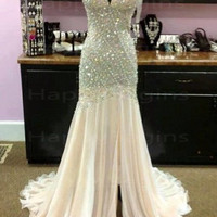 Long prom dress, ivory spaghetti straps beaded backless prom dress with pearls