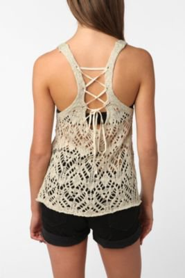 UrbanOutfitters.com > Staring at Stars Crochet Lace-Up Sweater Tank
