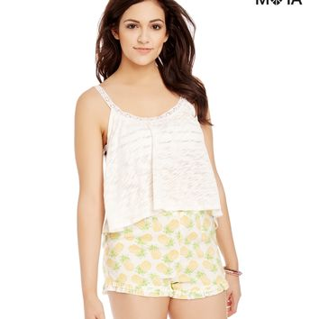 DOUBLE RUFFLE PINEAPPLE HIGH-WAISTED SHORTS