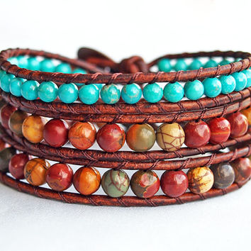 Southwestern Jewelry, Turquoise Beaded Wrap Bracelet, Southwest Bracelet, Red and Turquoise