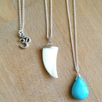 3 Layer Necklace Om Shark Tooth Turquoise