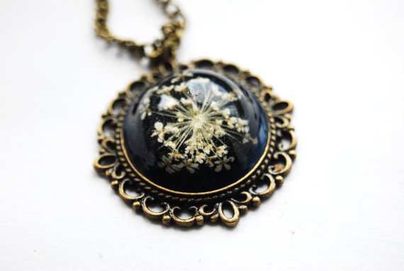 Real Flower Necklace Resin Pendant Black by NaturalPrettyThings