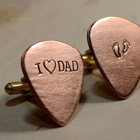 Copper guitar pick cuff links for Fathers Day and new dads