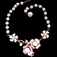 Vintage white milk glass Flower necklace