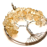 Citrine Tree of Life Pendant by OddsAndEndsByKaley on Etsy