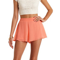 FLOWY CHIFFON HIGH-WAISTED SHORTS