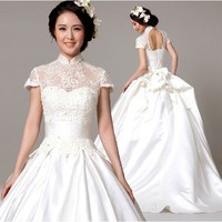 Unique White Beaded Cheongsam Modern Vintage Wedding Bridal Dress Gown SKU-118370
