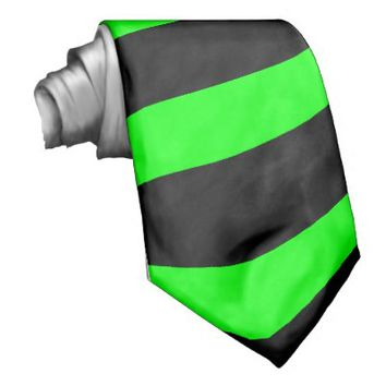Neon Green and Black Striped Tie (Thick Stripes)