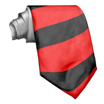 Red and Black Striped Tie (Thick Stripes)