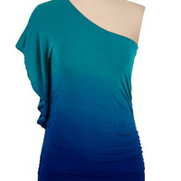 one shoulder ombre top