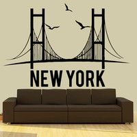 Wall Decal Vinyl Sticker Decals Art Decor Design Sign New York NY brookln Words Letters Bridge Birds City Town Capital  Dorm Bedroom (r661)