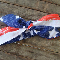 July Fourth The Skinny Headbands Blue Stars Reversible on Red and White Striped Fabric Teen Women Hair Accessory