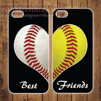 The Original Best Friends Baseball & Softball LOVE cases - for iPhone 4/4s or iPhone 5/5s - B002