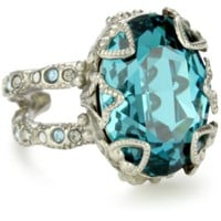 "Sorrelli ""Salt Water"" Heirloom Oval Cut Crystal Silver-Tone Adjustable Ring"