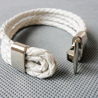 Cool White Leather and stainless steel Buckle by sevenvsxiao