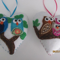 Owl Felt Ornament, Blue Owls of Happiness, Plush Heart Owls, Blue, Brown, and Pink Owls, Felt Owls Ornaments, Woodland Owl, Love Owls