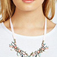 Alexandra Pastel Ribbon Embellished Necklace