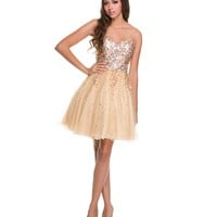 2014 Prom Dresses - Gold Sequin & Tulle Short Prom Dress