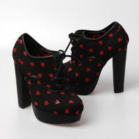 Iron Fist Rip My Heart Lace Up Platform Shoes - Black - Punk.com