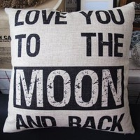OJIA 18 X 18 Inch Cotton Linen Decorative Sweet Love Sayings Throw Pillow Cover Cushion Case, Love You To The Moon And Back
