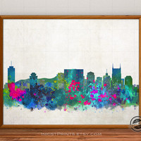 Nashville Skyline Watercolor Poster, Tennessee Print, Cityscape, City Painting, States, Illustration Art Paint, Giclee Wall, Home Decor