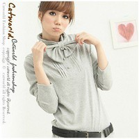 Noble Stand-up Neck Buttons Bowknot Embellished T-shirt Nimbus Grey-Wholesale Women Fashion From Icanfashion.com