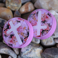 Floral Cross - Plug | UK Custom Plugs Shop for gauges, alternative fashion & body jewellery
