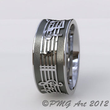 Music Notes Wedding Band Cobalt Chromium Customize It by pmgart