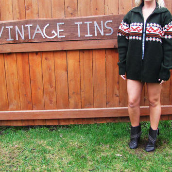 vintage army green zip up cardigan. HABAND. size L. oversized cardigan. aztec sweater. grandpa sweater