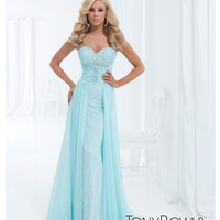 Tony Bowls 2014 Prom Dresses - Ice Blue Rhinestone & Lace Strapless Chiffon Gown