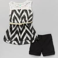 Black Zigzag Lace Belted Tank & Shorts Set - Toddler & Girls | zulily