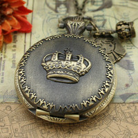 Antique pocket watch necklace bronze crown design by luckyvicky