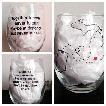 Long distance stemless wine glass, long distance friends stemless wine glass, lond distance family stemless wine glass, cousins wine glass