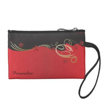 Coin Bag- Elegant Red Flowered Design