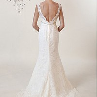 Buy Gorgeous Whole Lace Princess Deep V- Neckline Bridal Dress