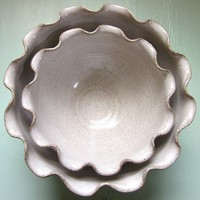 nesting ruffled bowls 8 inches by JDWolfePottery on Etsy