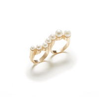 Pearl Wave Double Ring