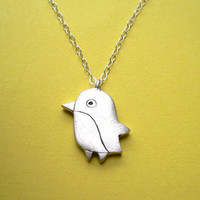 Silver Penguin Pendant handmade animal jewelry by StudioRhino