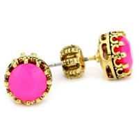 "Juicy Couture ""Palm Beach Poolside"" Princess Ultra Fuchsia Stud Earrings - designer shoes, handbags, jewelry, watches, and fashion accessories 
