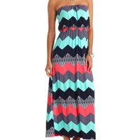 MIXED CHEVRON PRINT STRAPLESS MAXI DRESS