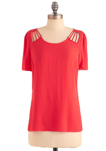 Coral Kinds of Cute Top | Mod Retro Vintage Short Sleeve Shirts | ModCloth.com