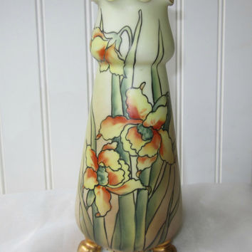 Vintage Nippon Footed Vase Iris Daffodil Pattern Gold Accents Handpainted Antique