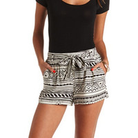 BELTED TRIBAL PRINT HIGH-WAISTED SHORTS