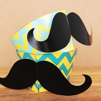 3D Patterned Hipster Mustache Cupcake Wrapper and Topper Set in an aqua blue and yellow chevron pattern INSTANT DOWNLOAD