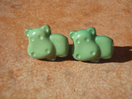 Hungry Hippos Grass Green Earrings - Surgical Steel & Gift Packaged | VeryVintage - Jewelry on ArtFire