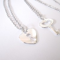 Heart Shaped Lock and Key Best Friend Friendship Necklace Set
