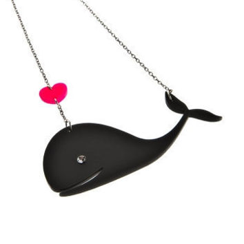 Whale In Love NecklacePlexiglass JewelryLasercut by bugga on Etsy