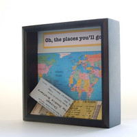 Ticket Holder - Wedding Gift - Shadow Box Ticket Keeper - Graduation Gift - Ticket Display Box - World Map