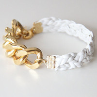 Gold Extra chunky chain with White leather braid by TheUrbanLady
