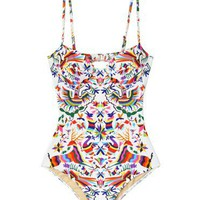 Mara Hoffman Techno Animals White Bustier One Piece